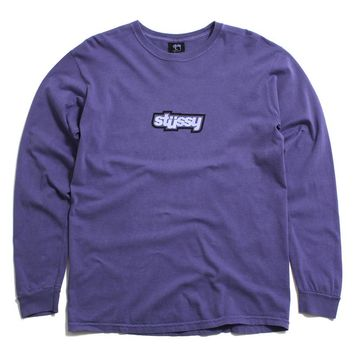 Drop U Pigment Dyed Longsleeve T-Shirt Purple
