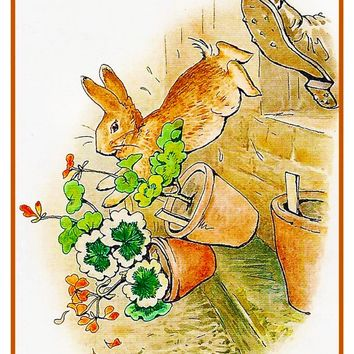 Peter Rabbit Gets Kicked inspired by Beatrix Potter Counted Cross Stitch Pattern