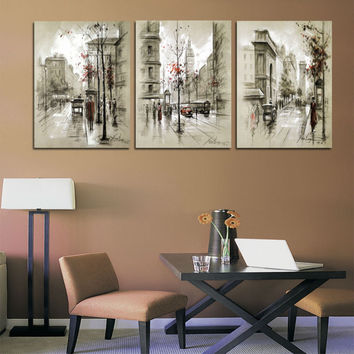 Canvas Painting Abstract City Street Landscape 3 Panel Wall Art