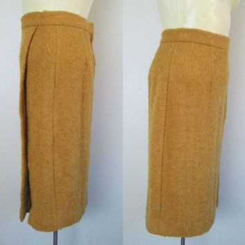 Wool High Waisted Pencil Skirt Side Slit Straight Fully Lined