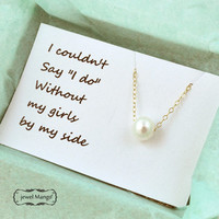 Bridesmaid necklace with card, Pearl on gold chain necklace, wedding bridal, large hole pearl, single pearl gold necklace, Floating Pearl