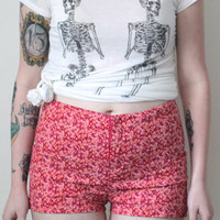 Vintage 90s Hippie // Ditsy Floral High Waist Shorts // Zip Up Shorts // Pink Red Orange // Music Festival // Size Small