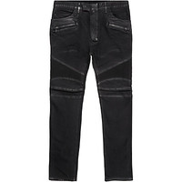 Balmain Waxed Slim Fit Biker Jeans