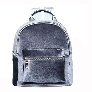 a6eb96942d8 Fashion Simple Designer Backpack Soft Velvet Backpack Women Small Travel  Backpacks Girls School Book Bag Rucksack