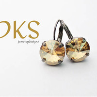 Black and Gold, Swarovski 12mm Lever Back Drop Earrings, Golden Shadow, DKSJewelrydesigns, FREE SHIPPING