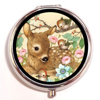 Woodland Creatures Deer Birds Flowers Kawaii Kitsch Pill Box Pillbox Case Trinket Box Vitamin Holder