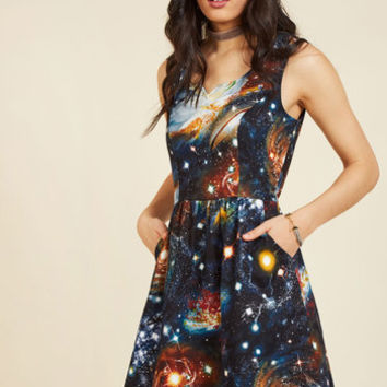 Heart and Solar System A-Line Dress | Mod Retro Vintage Dresses | ModCloth.com