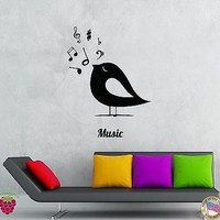 Wall Stickers Vinyl Decal Birds Notes Music Romantic Decor For Bedroom Unique Gift (z2070)