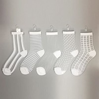 Women Sheer Mesh Glass Silk Socks