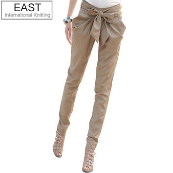 EAST KNITTING AS-015 2015 high waist women's Skinny Long Trousers OL casual Bow harem pants plus size Black, Khaki Free shipping