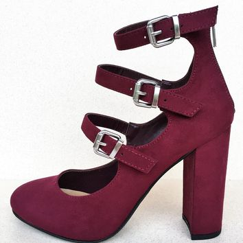 Zadie Strappy Buckle Back Zipper Block Chunky Heel Closed Toe Sandal Shoe Wine