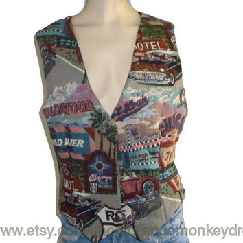 vintage tapestry ROUTE 66  vest hipster indie boho  women