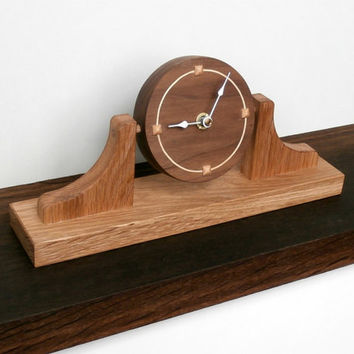 Modern clock, great presents for dad.  Face made from walnut and sycamore 'Napoleon's hat' design