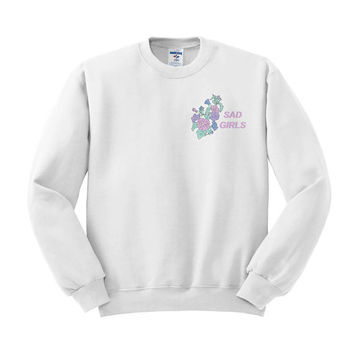 Sad Girls Sweatshirt, Pastel Flowers, Girl Squad, Tumblr Style, floral shirt, 90's Style, Pastel Goth, flower shirt, tumblr shirt