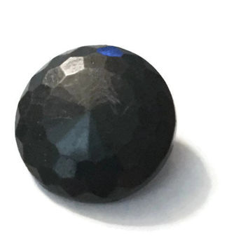 Vintage Faceted Black Buttons Round Plastic with Shank Back, #31