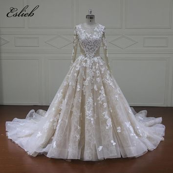 Eslieb Robe De Mariee Simple Long Sleeve A Line Wedding Dresses 2018 Applique Court Train Bridal Gown Plus Size Wedding Dress