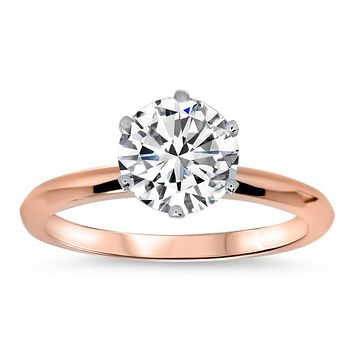 8mm Knife Edge Solitaire Engagement Ring - Tiff