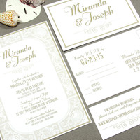 Seaside Beach Wedding Invitation Set by RunkPock Designs / Vintage Style Hand Drawn Scroll Border Script suite shown in champagne sand tan
