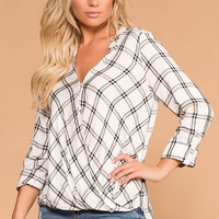 Checkmate White and Black Plaid Button Top