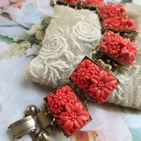Vintage Molded Faux Coral Glass Flowers Bracelet