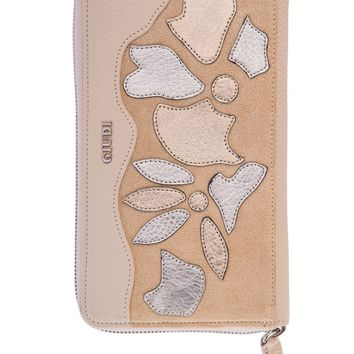 Salina-Zip Clutch Wallet-Beige Flower