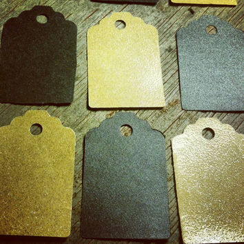 Hand Punched Gift Tags/ Gold Gift Tags/ Black Gift Tags/ Handmade Gift Tags/ Holiday Gift Tags/ Anniversary Gift Tags