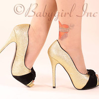 Bettie Page Shoes by Ellie - BP517-Tempest Gold Micro Sequin Peep Toe Pumps with 4 inch Heel and Black Velvet Bow Detail