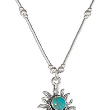 """Sterling Silver 16"""" Simulated Turquoise Sun Necklace On Liquid Silver"""