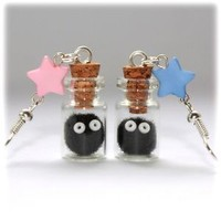 Spirited Away Totoro Soot Sprites & Stars Bottle Earrings. Silver. Susuwatari
