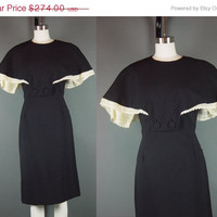 DRESS SALE Vintage 50s Maxwell Shieff Dress Hollywood Designer 1950s Black Wool Cape Organza Pineapple Sleeves