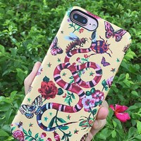 Retro-floral 7plus case cortiRetro-floral 7plus case cortical hard-shelled snake type 8plus shell bee garden 6spcal hard-shelled snake type 8plus shell bee garden 6sp