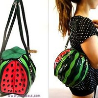 Round Fruit Watermelon Melon Shaped Womens Handbag Bag Unique Novelty Girls Gift