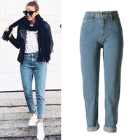 Plus Size Straight Jeans Boyfriend Womens Casual Loose Brand Denim Pants female pantalones vaqueros mujer