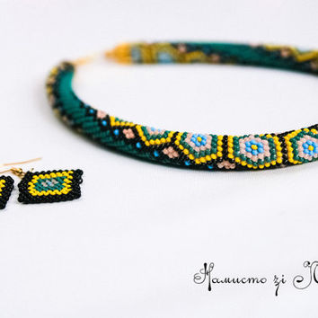 Turtles Bead Crochet Necklace in 2 Color Versions