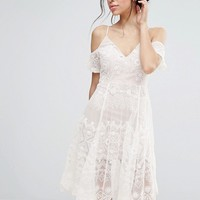 Love Triangle Lace Cold Shoulder Midi Dress at asos.com