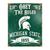 Michigan State Spartans NCAA Vintage Metal Sign (11.5in x 14.5in)