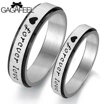 GAGAFEEL Finger Ring Men Love Heart Lettering Black White Titanium Steel Circles Couple Jewelry Never Fade OR234