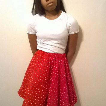 Red and White Polka Dot skirt set