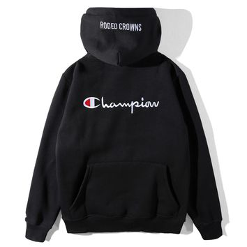 Champion 2018 autumn and winter new plus velvet embroidered back letter hoodie black