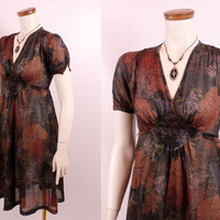 Vintage 70s - Sheer Brown & Black Leaf Print - Short Puffy Sleeve - Pleated Waist - Short Baby Doll Dress - Boho Hippie Glam