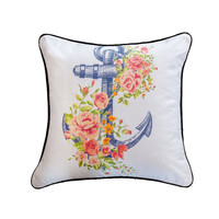 Floral Anchor White & Pink Throw Pillow