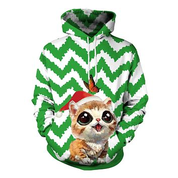 Cat Butterfly Cartoon Digital Print Women Christmas Party Hoodie