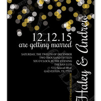 Glowing Lights on a Black Background Design Printable Wedding Invitation and Matching RSVP Card