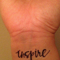 Temporary Handwritten Inspire Tattoo