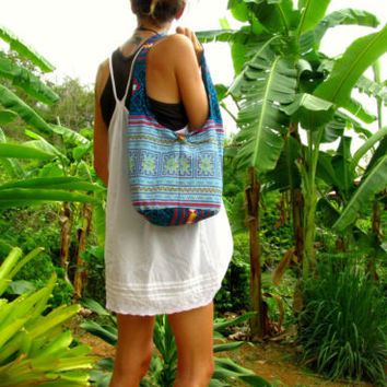 Blue Cotton Mini Shoulder Buddha Bag Hobo Sac Handbag Boho Hippie Festival Ibiza | eBay