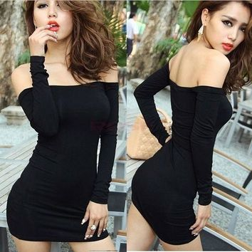 New Women Off Shoulder Stretch Tunic Tight Fitted Club wear Party Sexy Mini Dress Black Vestidos 2956 One Size = 5659298241