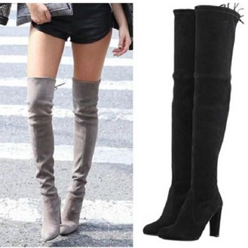 Women Stretch Faux Suede Thigh High Boots Sexy Fashion Over the Knee Boots High Heels