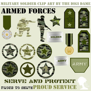 Digital Scrapbooking Elements/Clip Art: INSTANT DOWNLOAD Military Camouflage - Army Soldiers