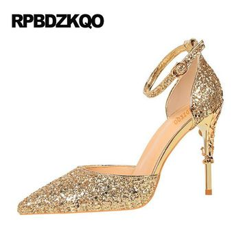 Ankle Strap Glitter Golden Thin Silver High Heels Gold Wedding Shoes Pumps Size 4 34 Ladies Sequin Bling Strange Pointed Toe