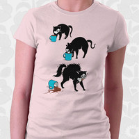Coffee Cat T-shirt - 100% Cotton. Mens, womens and kids sizes. This cute cat shirt comes in pink, red, and baby blue.